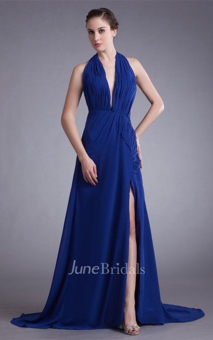 chiffon plunged sleeveless front-split dress with draping