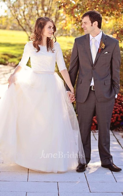 Modest Simple Scoop Lace Tulle Wedding Dress with Elbow Sleeves