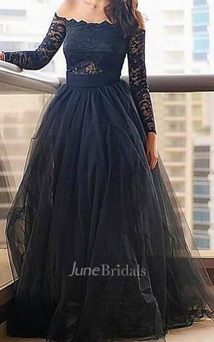 Modern Off-the-shoulder Black Prom Dress With Lace Long Sleeve