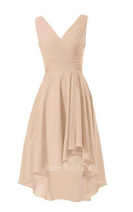 Sleeveless V-neck Asymmetrical Ruched Chiffon Dress