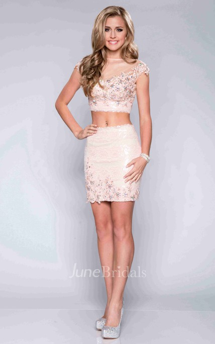 V-Back Cap Sleeve Two-Piece Sheath Lace Prom Dress With Sequins