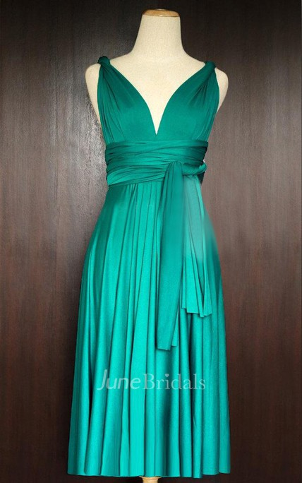 fcf6c5153e1 Short Teal Green Infinity Multiway Convertible Wrap Dress - June Bridals