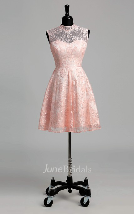 Short/Mini A-line High Neck Sleeveless Lace Dress with Illusion and Keyhole Back