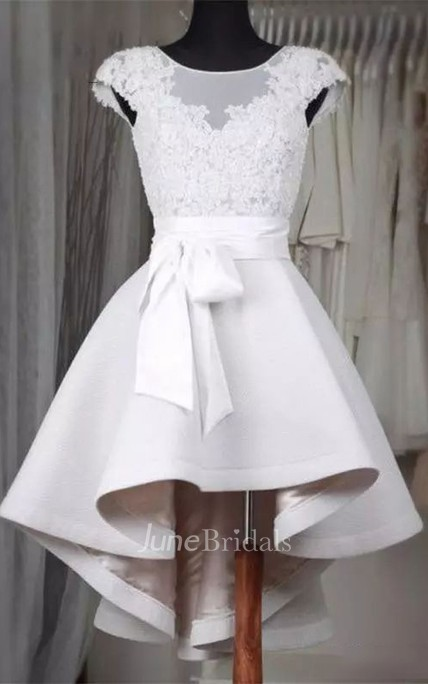 A-line Bateau Short Sleeve Ruffles Sash Ribbon High-low Satin Lace Homecoming Dress