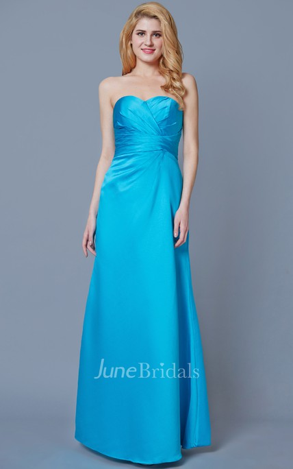 Fantastic Sleeveless A-line Style Satin Dress With Ruching