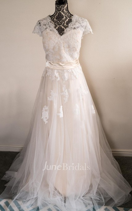 a009b69805dc V-Neck Cap Sleeve A-Line Tulle Skirt Lace Bodice A-Line Wedding Dress With  Sash - June Bridals