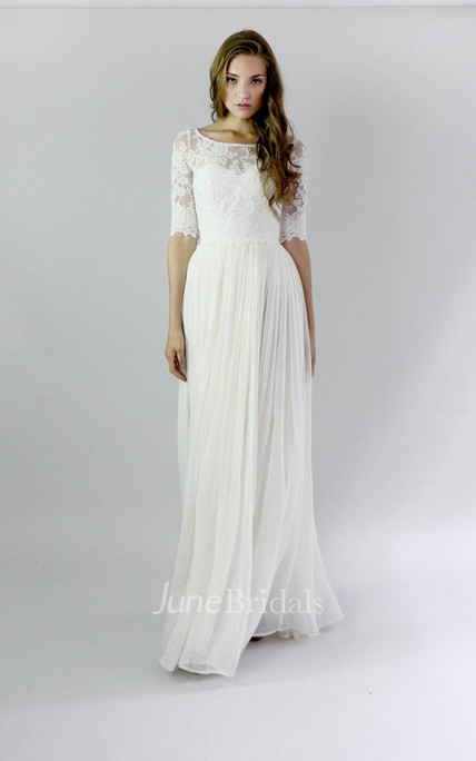 84a589b275 Button Back Sheath Chiffon Wedding Dress With Lace And Pleats - June Bridals