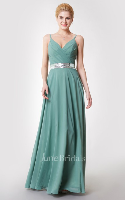 Demure V Neck Ruched Chiffon Gown With Beaded Sash