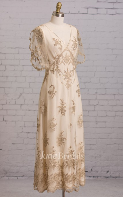 Sheath V-Neck Empire Waist Embroidery Dress With Illusion Butterfly Sleeves V-back Goldline Embroidery Brush Train Dress