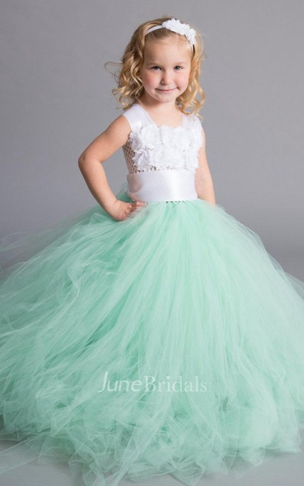strapped Tulle Dress With Chiffon Flower Bodice and Sash Ribbon
