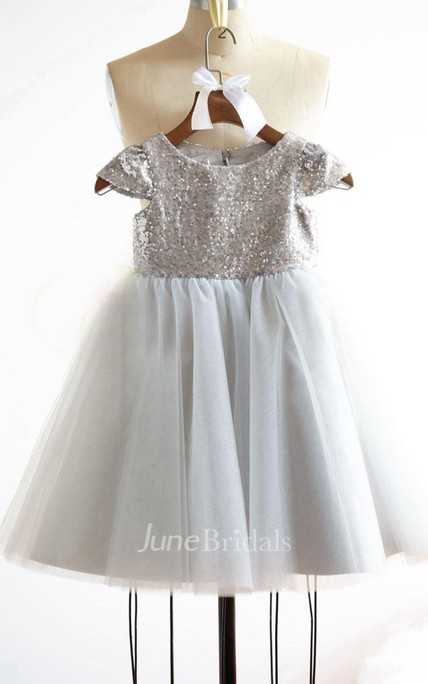 Cap Sleeve Tulle Dress With Sequins and Pleated