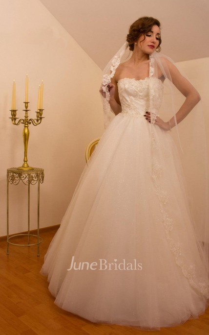 8fb90804c8c5b Cathedral Train Tulle Lace Weddig Dress With Illusion - June Bridals