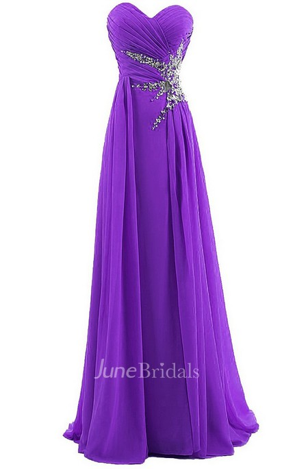 Sweetheart Long Chiffon Dress With Sequins