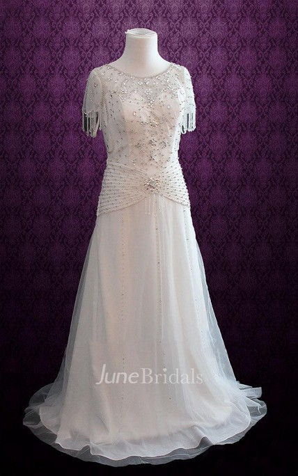 e70911c410e Jewel Dropped Waist Long Chiffon Wedding Dress With Crystal Detailing And  Sash - June Bridals