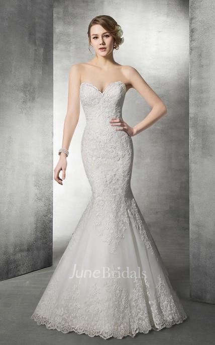 c94159d9fee27 Delicate Sweetheart Lace Mermaid Wedding Dress - June Bridals