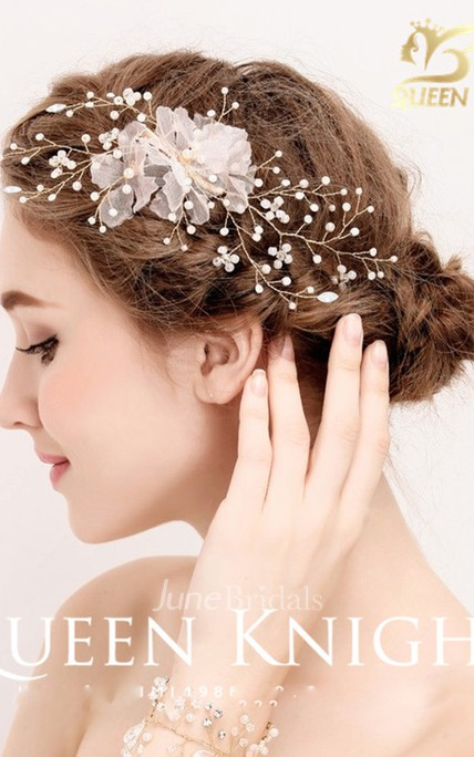 New Aesthetic Rhinestone Pearl Handmade Yarn Tassel Bride Headdress