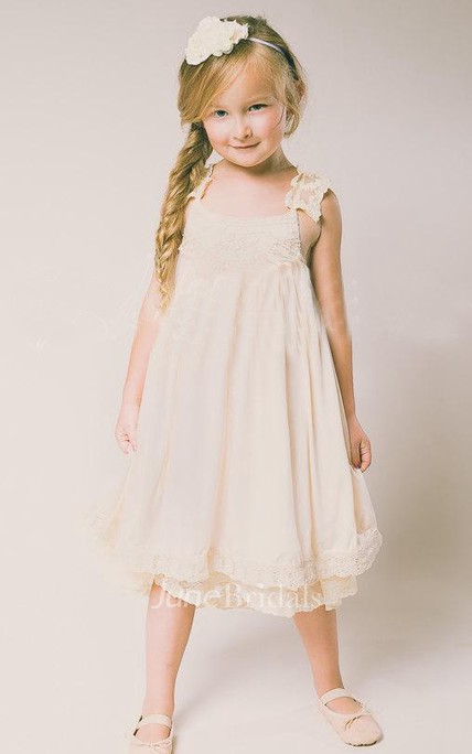 Lace Strap Pleated Chiffon Dress With Straps Back