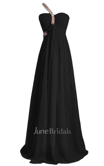 One-shoulder A-line Chiffon Gown With Crystals