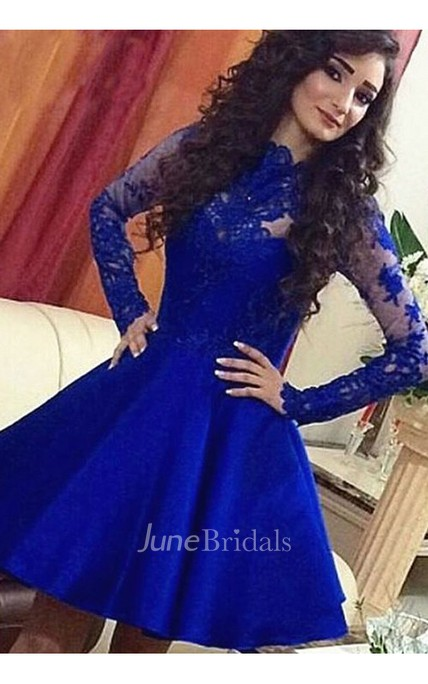 A-line High Neck Long Sleeve Lace Ruching Short Mini Satin Lace Homecoming Dress