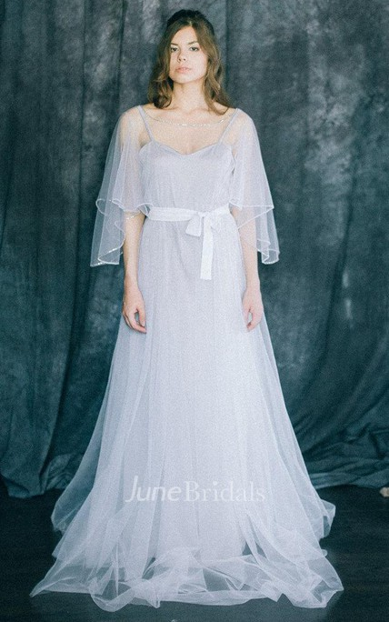 Wedding Lightness Bohemian Light Grey And White Soft Tulle And Bridal Gown Boho Beach A Line Butterfly Sleeve Modern Rustic Dress
