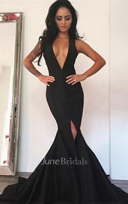 Sexy Black Deep V-Neck Prom Dress 2018 Mermaid