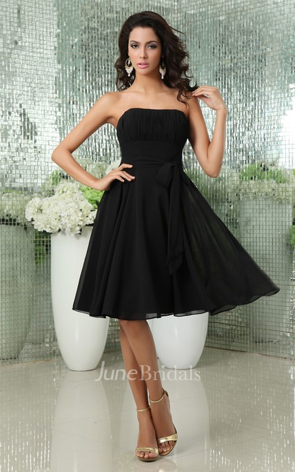 Romantic Strapless Midi Backless Dress With Bow