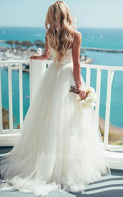 3d3e49e3dc2 Ivory Tulle Destination Sweetheart Spaghetti Strap Wedding Dress - June  Bridals