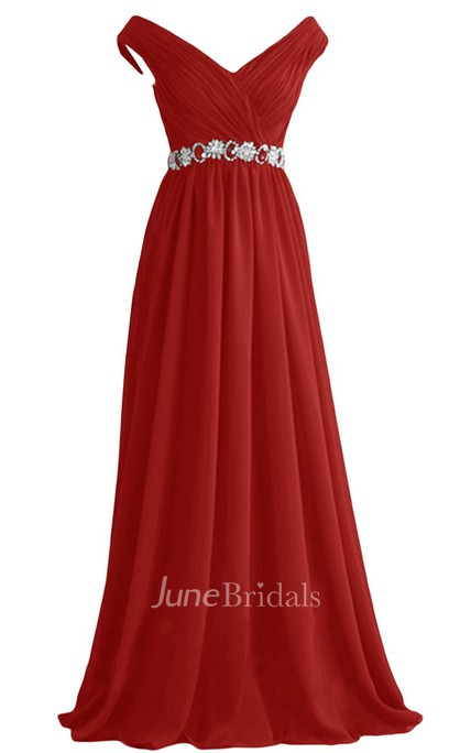 V-neckline Empire Dress With Crystal Embellishments