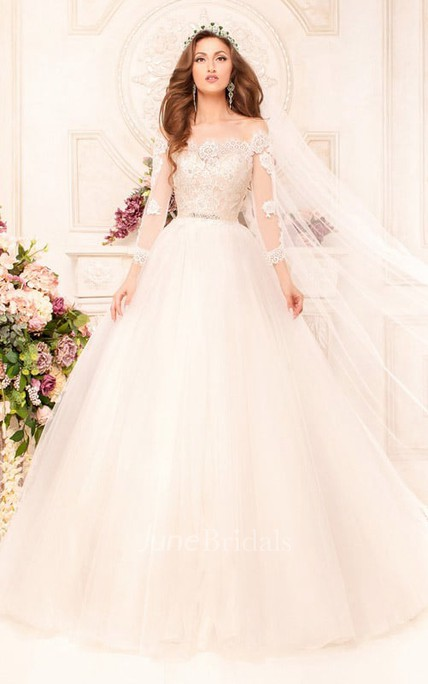 cb67add8049 Ball Gown Long Off-The-Shoulder Long-Sleeve Illusion Tulle Dress With  Appliques And Beading - June Bridals