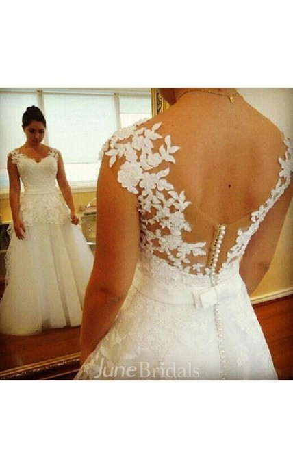 Elegant V-neck A-line Lace Gown With Low-v Back and Cap Sleeves