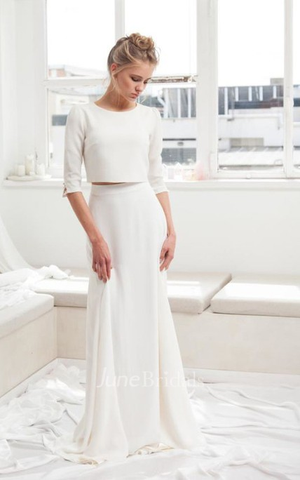 Modest Chiffon 3/4 Sleeve Two Piece Wedding Dress