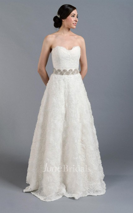 Sweetheart Pleated Beaded Waist Lace Dress With Rosette Skirt
