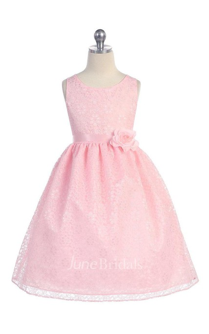 Gorgeous Lace Flower Girl Dress With Flower Pin
