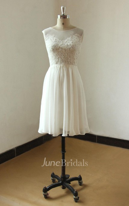 Ivory Sleevless Knee Length Lace Chiffon Wedding Dress With Illusion Neclikine