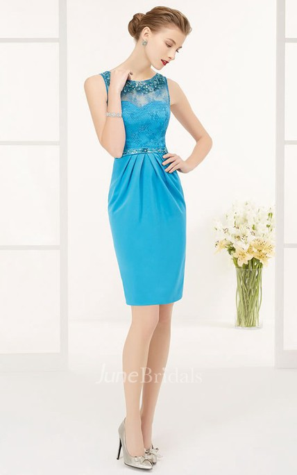 Crystal Neck And Waist Lace Top Sheath Knee Length Prom Dress With Keyhole