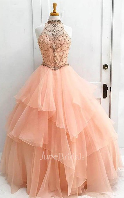 Ball Gown High Neck Long Tulle Prom Dress with Beading
