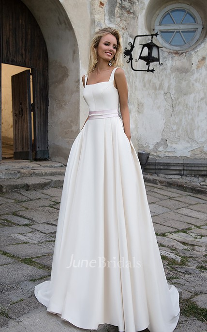 Simple Satin A-line Square Neckline Floor Length Bridal Gown