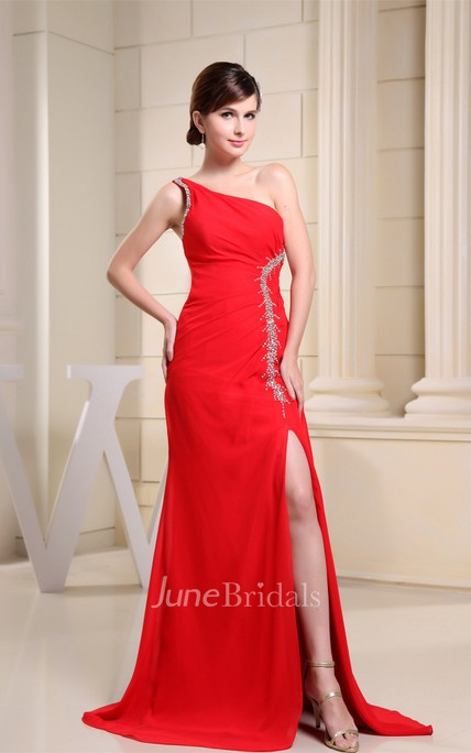 One-Shoulder Ruched Chiffon Long Dress with Front Slit and Appliques