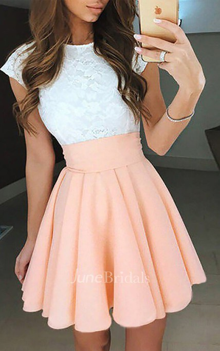 A-line Bateau Short Sleeve Pleats Short Mini Chiffon Lace Homecoming Dress