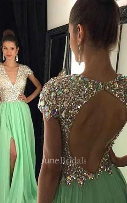 ce90fe14228 A-Line Princess Short Sleeves V-neck Chiffon Sequin Floor-Length Dresses -  June Bridals