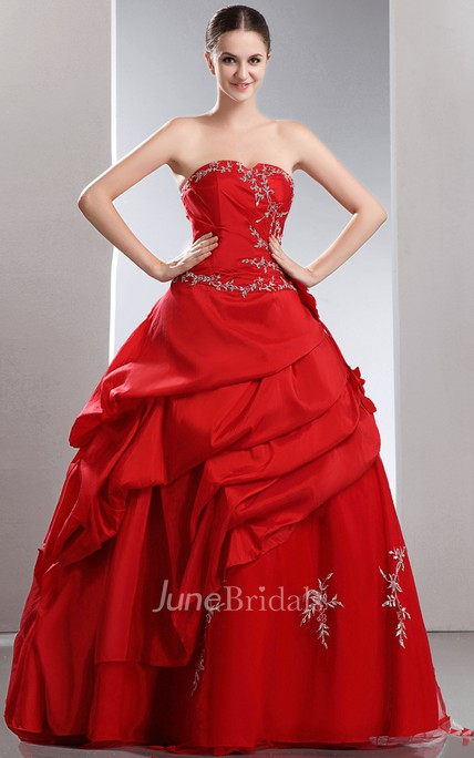 Flamboyant A-Line Layered Ball Gown With Crystal Detailing And Embroideries