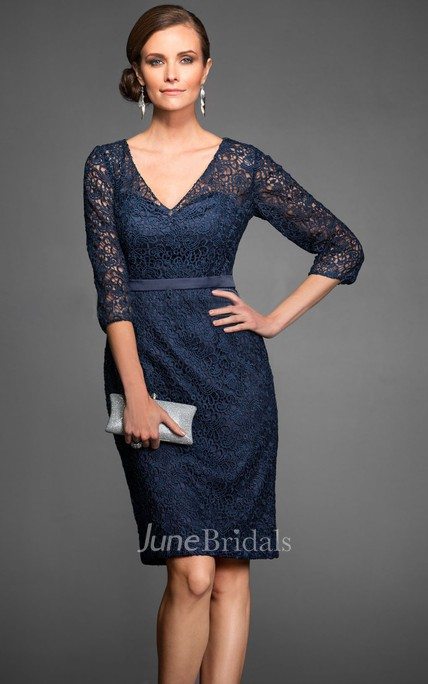 3-4 Sleeved V-Neck Knee-Length Lace Sheath Mother Of The Bride Dress With Illusion Detail
