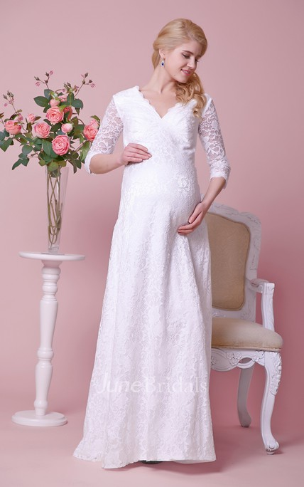 745fc5b1e53a2 Allover Lace V-neck Floor Length Maternity Wedding Dress With 3 4 Sleeves -  June Bridals