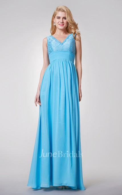 1364981e0bee Elegant Sleeveless A-line Long Chiffon and Lace Dress - June Bridals