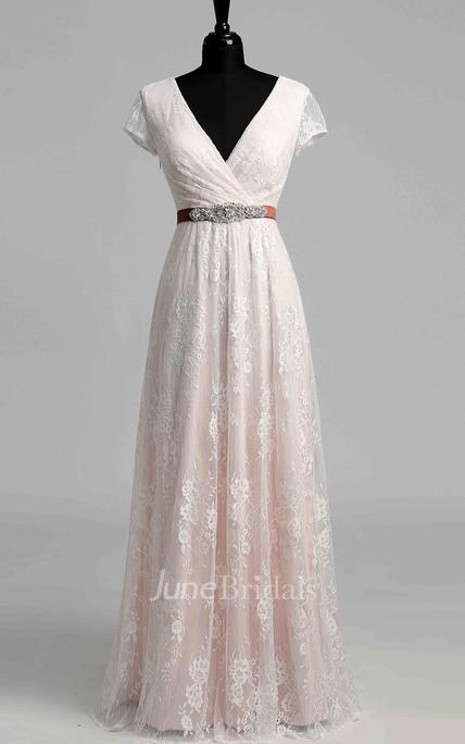 43bb9a17b31 Short Sleeve V-neck Pleated Long Lace Wedding Dress - June Bridals