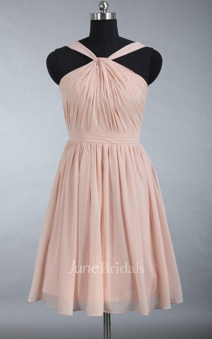 Junior Knee Length Pearl Pink Chiffon Bridesmaid Dress