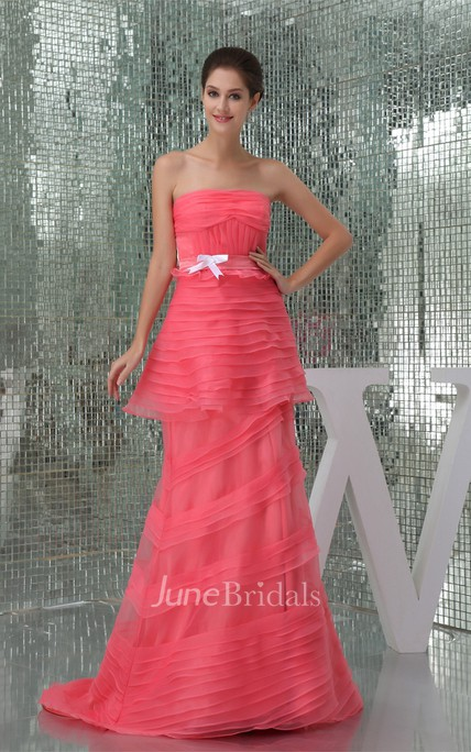 Strapless Sheath Floor-Length Dress with Ruching and Brush Train