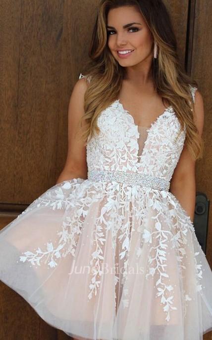 de0b0435a3a A-line Ball Gown V-neck Sleeveless Beading Ruching Ruffles Short Mini Lace Homecoming  Dress - June Bridals