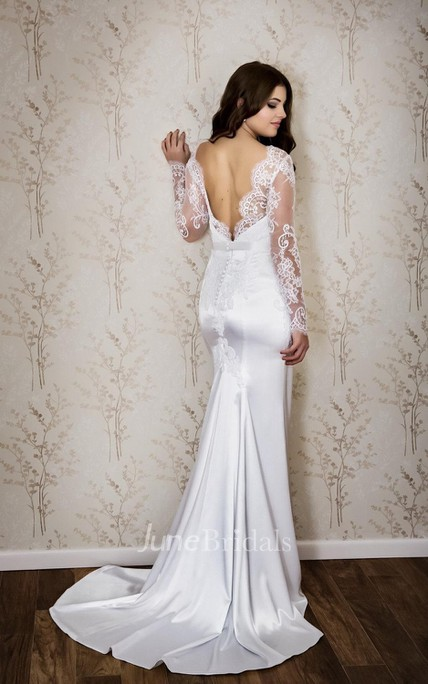 Sexy Bateau Neck Long Sleeve Mermaid Satin Wedding Dress With Lace