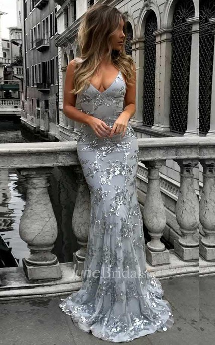 Mermaid Deep V Neck Sweep Train Grey Tulle Prom Dress